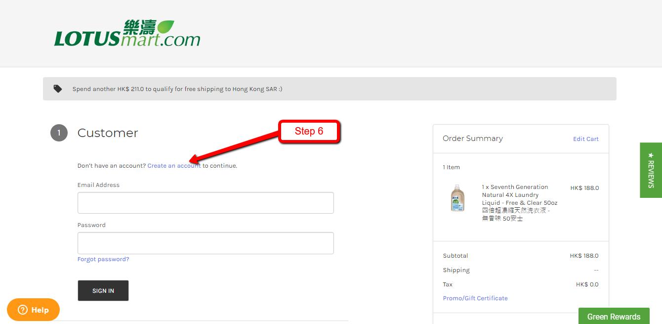 Order Step 6 -Create an Account